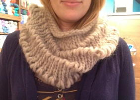 Drop Stitch Cowl knit in Ella Rae Mega