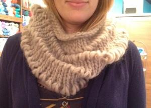 Drop Stitch Cowl knit in Ella Rae Mega