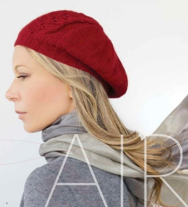 Leaf Panel Beret knit in Zealana Air